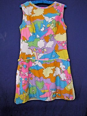 1960's Mod Colorful Romper Women's Playsuit Peter Maxx Style Print One Piece M