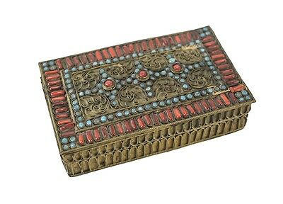 Southeast Asian Gilt Brass Coral and Turquoise Gemstone Filigree box c 1920