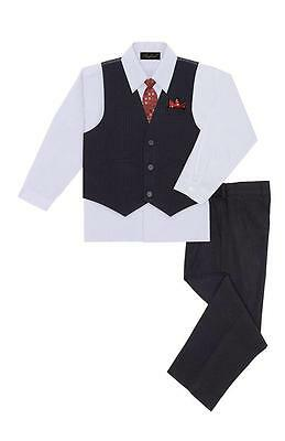 Boys Solid Black Vest Suit Set with Colored Dress Shirt, Tie, Size 2T-20 Wedding