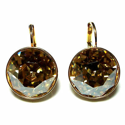 ac7c697a2 Large Round Bella Crystal Golden Shadow Earrings Made with SWAROVSKI®  Crystals