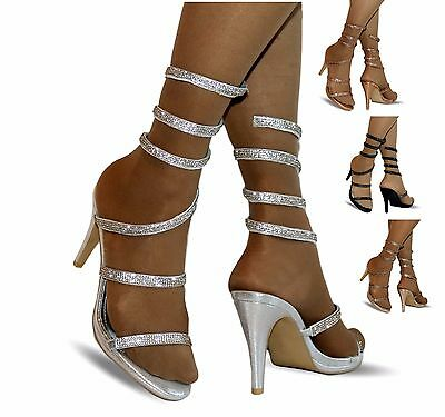 NEW Womens Party Evening Diamante Mid High Heel Slip On Shoes Sandals Size 2-23