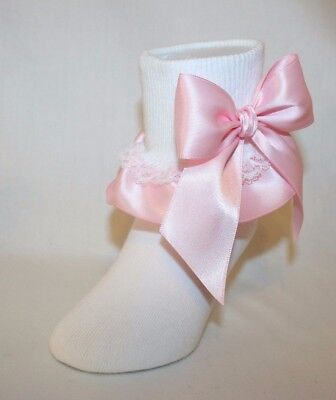 Girls White Stretch Cotton Ruffle Socks with Pink Satin Ribbon and Bows Bailey