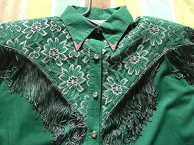vintage 80s green western shirt fringe and lace large