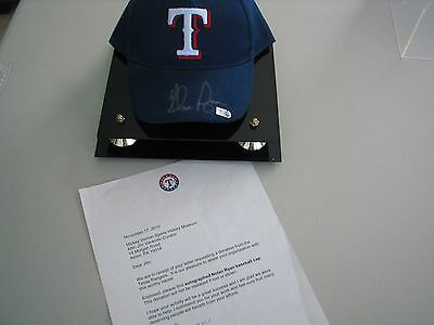 Nolan Ryan Autographed Baseball Hat with Display Case - Letter from Rangers