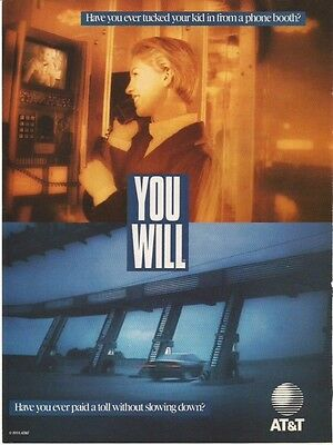 1993 ~ Magazine Print Ad ~AT&T~Future tech that never happened! VIDEOPHONE BOOTH