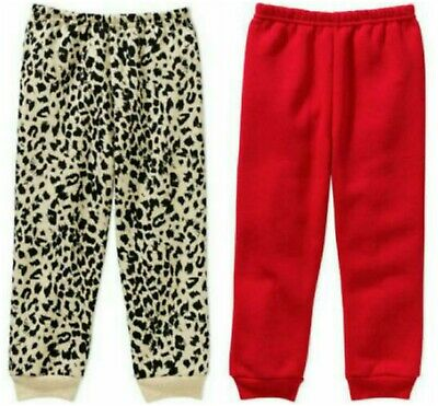 Toddler Girls Pull-on Knit Jogger Pants Turquoise, Red, Rose, Leopard 3T 4T 5T