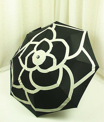 New Chanel Umbrella VIP Gift- Black Camellia With Gift Box and Carry Bag