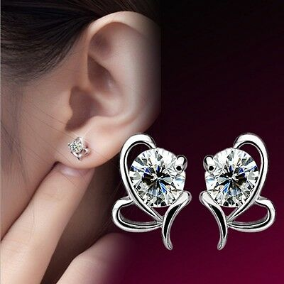 Lovely New Jewelry Small Fashion Silver Plated Earrings Heart Shape Stud