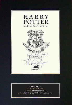 JK ROWLING -  Harry Potter - Autograph Book Signed Print FREE WORLDWIDE SHIPPING