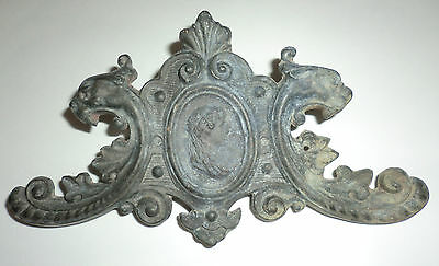 Vintage Antique Small Dark Iron? Plaque Gothic Gryphons Dragons Cameo Ornate 6oz