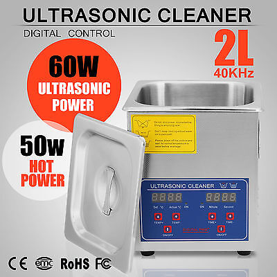 US 2L Liter 110W Stainless Steel Industry Heated Ultrasonic Cleaner w/timer
