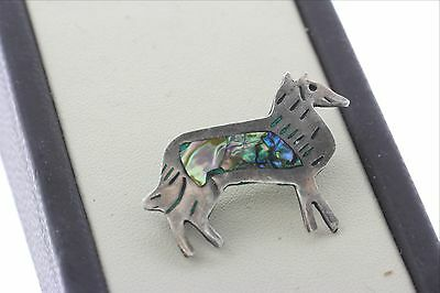 Sterling Silver 925 Mexico Abalone & Malachite Inlay Animal Brooch Pin