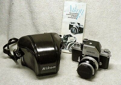 VINTAGE Nikon F Photomic 35mm SLR Film Camera w/ 50mm f1.4 Nikkor-S lens & Case