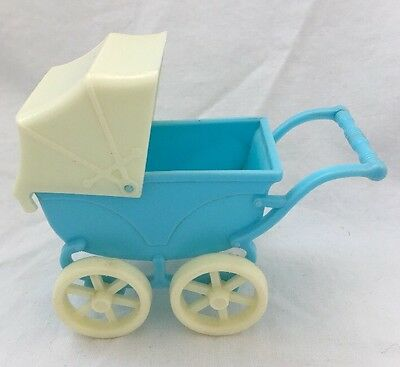 Vintage Plastic BLUE & WHITE Doll Stroller Buggy Carriage Kiddle Size Dollhouse