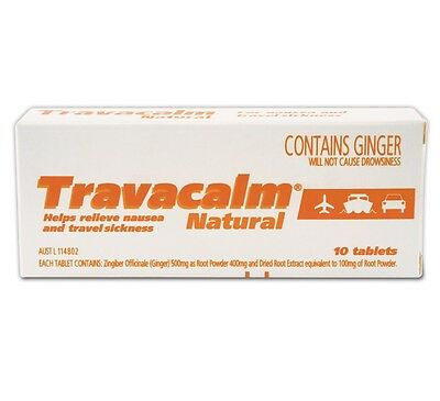~ Travacalm Natural Sea Sick Motion Sickness 10 Tablets Ginger Flavoured
