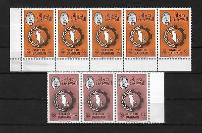BAHRAIN 1976 Map of Bahrain MNH Strips.