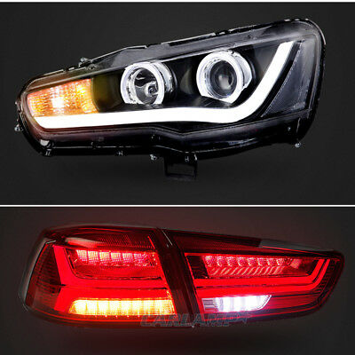 LED Headlights & Tail Lights Red  For Mitsubishi Lancer / EVO X Assembly