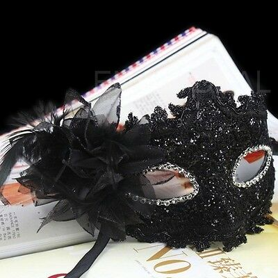 Eye Face Mask with Feather Flower for Masquerade Halloween Costume Black10