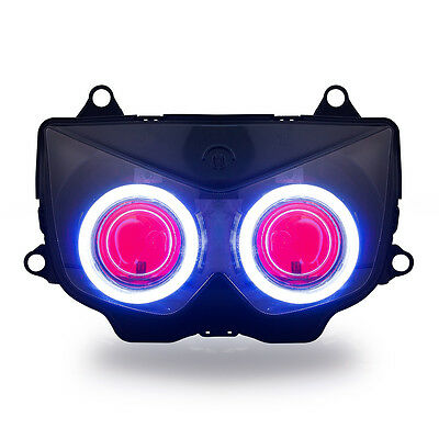 KT LED Angel Halo Eye Headlight Assembly for Kawasaki Ninja 250R 2008-2012 Red