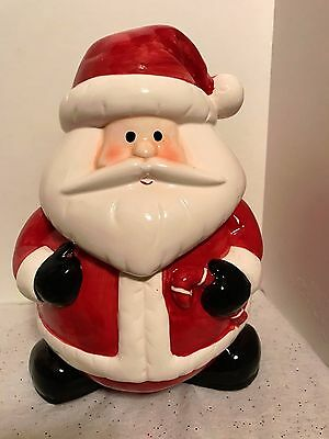 New Ceramic Christmas Holiday Santa Clause Cookie Jar /Canister