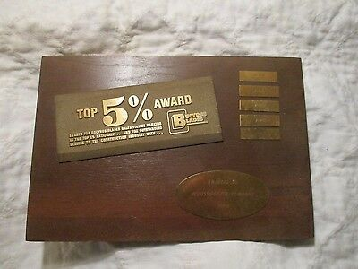"Rare Vintage ""mississippi Oil Company"" Wood & Brass Plaque Sign Trophy Bucyrus"