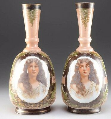 Antique Vases; Victorian Portraits of 19th C. Hand-Blown, Painted Bristol Glass