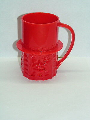 Mr. Peanut Figural Promotion Mug ~ RED 1950's Planters Nuts Cup