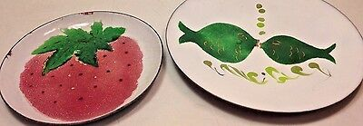 Vintage Mid~Century~KISSING FISH & STRAWBERRY Enamelware Copper Small Plates