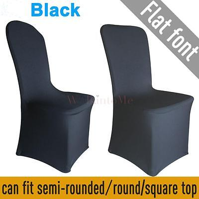 New 100X Flat Front Covers Spandex Lycra Chair Cover Wedding Party Favour  Black