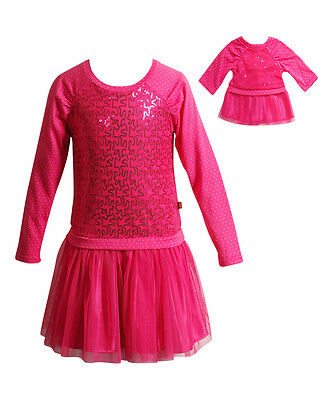 Dollie Me Girl 4-14 and Doll Matching Fuschia Dress Clothes fit American Girls