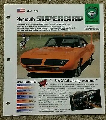 Plymouth Superbird 1970 Hot Cars Spec Sheet Group 4 Sports Cars Number 22