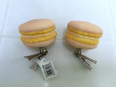 Nordstrom French Macaroon Cookie Clip-On Blown Glass Christmas Ornament New