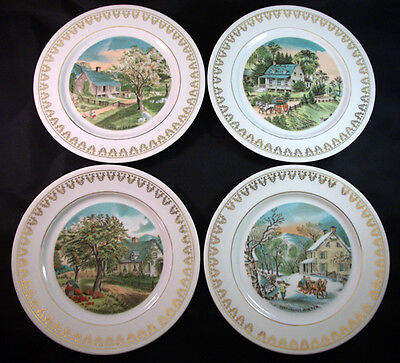 "Set of 4 Currier & Ives Four Seasons Decorative Wall Plates 8.25"" wide"