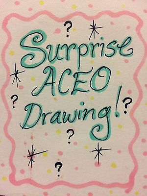 Aceo Surprise original Drawing! what will it be? cat dog fantasy anime holiday