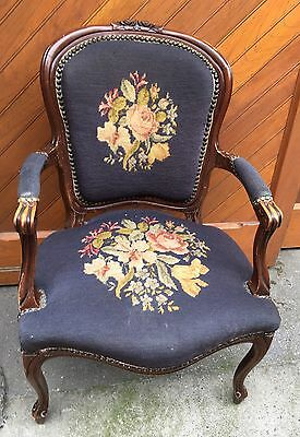 Vintage French Louis XV Style Carved Mahogany Needlepoint Fauteuil Arm Chair