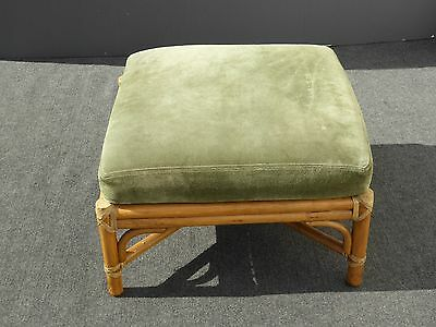 AUTHENTIC McGuire Vintage Bamboo Rattan OTTOMAN Suede Cushion &Leather Bindings