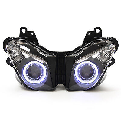 KT LED Angel Eyes Headlight Assembly For Kawasaki Ninja ZX-6R 2009-2012 White