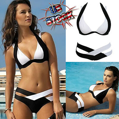 2017 Women Swimwear Bandage Bikini Set Push-up Padded Bra Bathing Suit Swimsuit