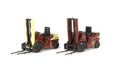 Forklifts  x 2 - PAINTED for Model Train Layout OO / HO - Good detail
