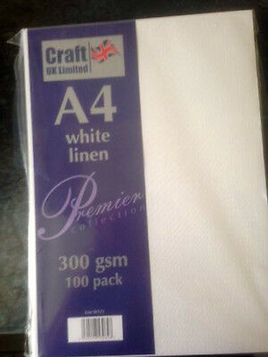 Craft UK A4 cardstock 300 gsm 100 sheets  white linen