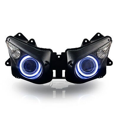 KT LED Angel Eye Headlight Assembly for Kawasaki Ninja ZX-10R 2006-2007 White