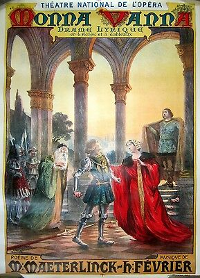 """Original Vintage French Opera Poster """"Monna Vanna"""", Early 1900's"""