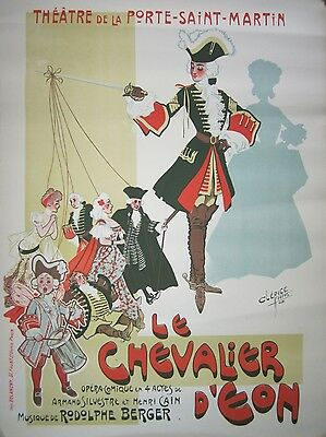 Authentic Vintage French Opera Poster, Le Chevalier D'eon, 1900-1910