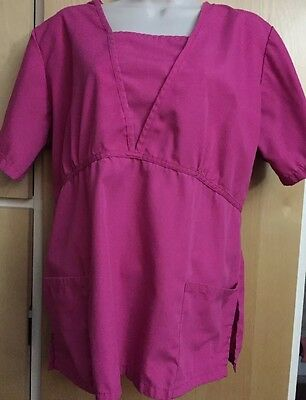 Women's Blue and White Active Uniforms Scrub Top Fuschia L