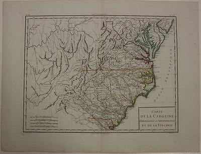 North & South Carolina Virginia U.s.a. 1797 Mentelle & Chanlaire Antique Map