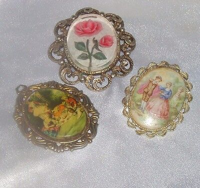 Vintage Signed Rose Hand Painted Portrait Brooch Pendant Lot Romantic Victorian