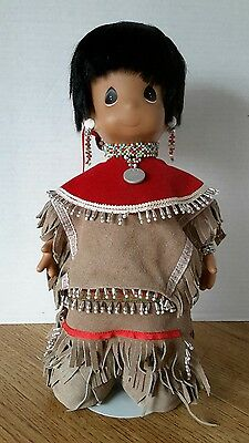 """Precious Moments Nwt Limited Ed 16"""" Native Apache Doll Leather Beaded Outfit"""