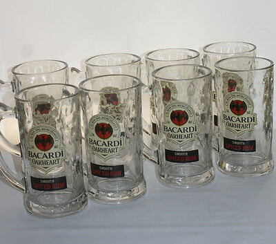 Set of 8 Bacardi Oakheart Smooth Spiced Rum Textured Glass Mugs/Steins