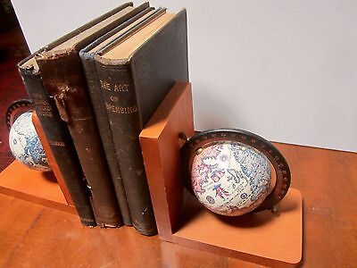 Pair Vintage Wooden Spinning Globe Book Ends with World Map. Wooden Bookends