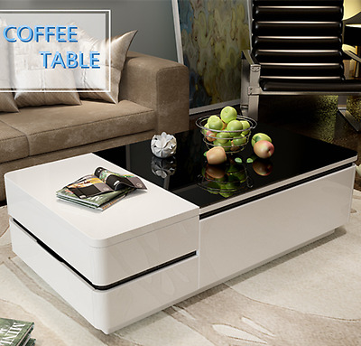 White MDF High Gloss Coffee Table Black Tempered Glass Top 4 Drawers Living Room